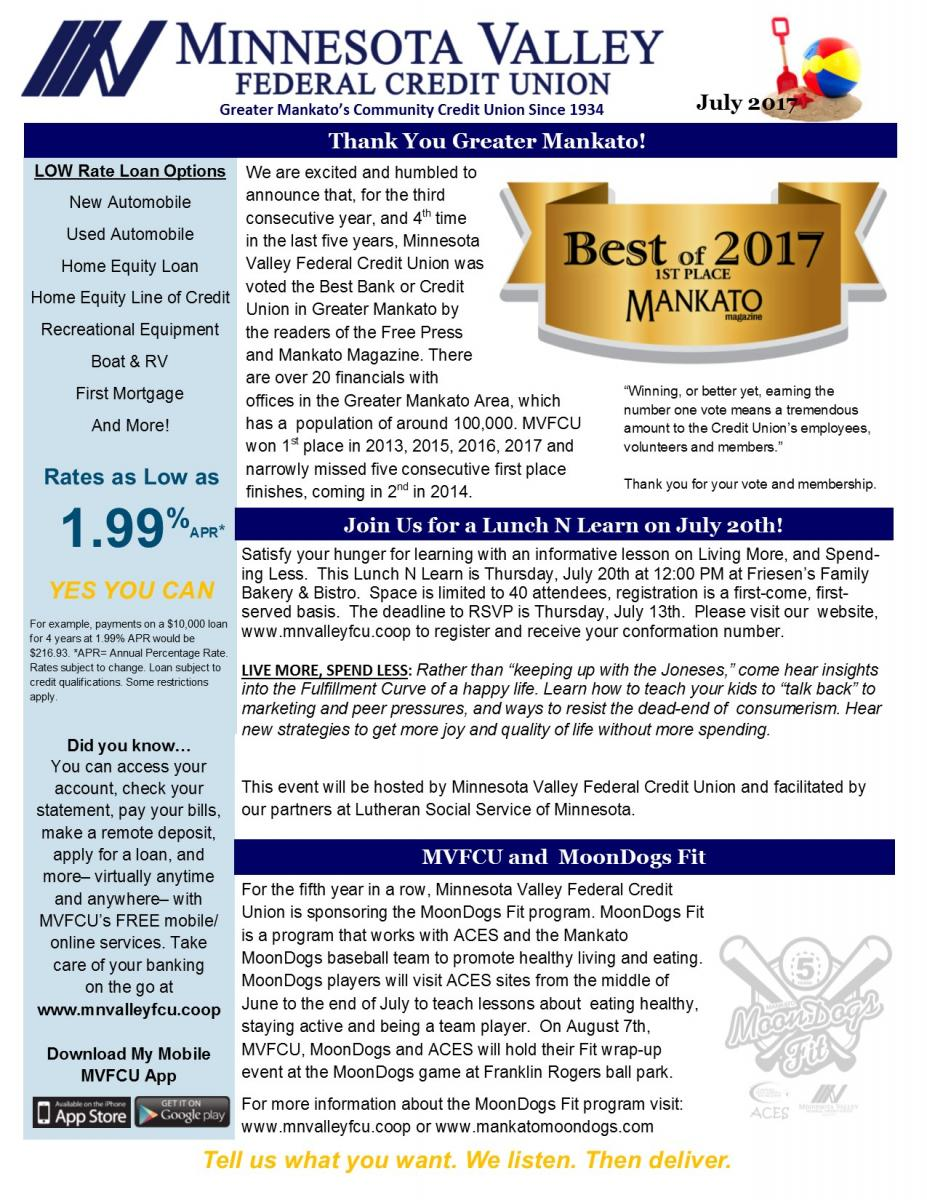 Newsletter | Minnesota Valley Federal Credit Union